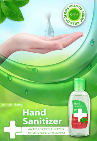 Hand Sanitizer gel ads. Antiseptic for hands in bottles. Antibacterial effect, best protection against viruses. Vertical banner. Vector illustration.