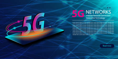 5G network new wireless internet wifi connection. Technology neon glowing abstract background. Innovative generation of the global high speed Internet broadband. Template for web site. Vector