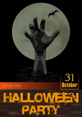 Halloween party poster. Zombie hand rising from the grave against the moon. Party invitation template vertical background. Vector illustration.
