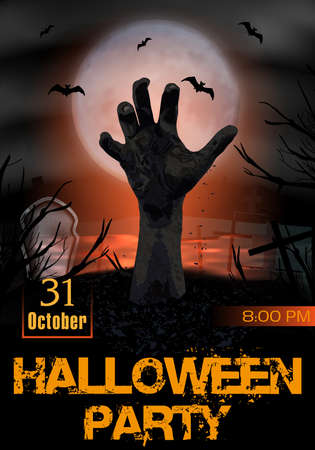 Halloween party poster. Zombie hand rising from the grave. Party invitation template vertical background. Graveyard with tombstones and moon In spooky night. Vector illustration.