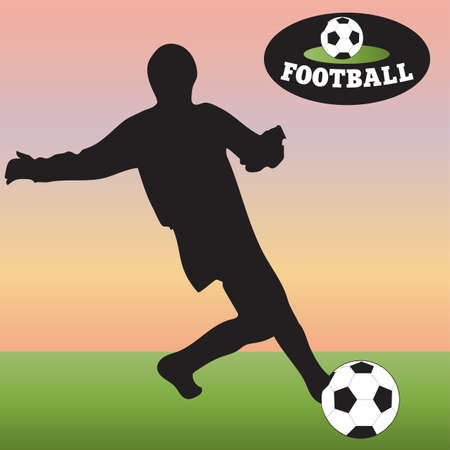 Silhouette of soccer ball on the green field. Football. Vector illustration.