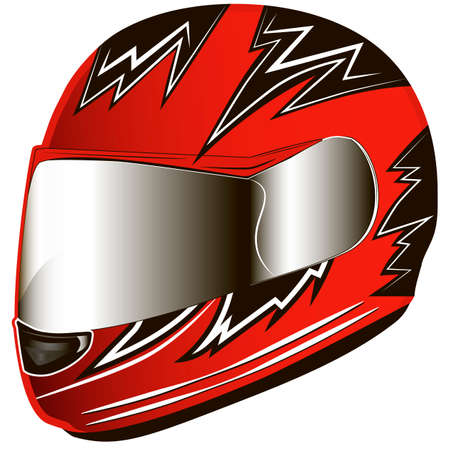 Motorcycle red helmet. Helmet red biker. Vector illustration.