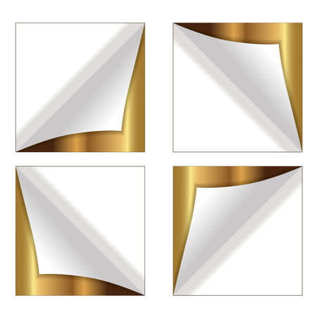 Blank square stickers with space for your text. A set of gold. Vector illustration.