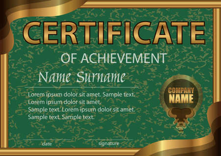 Certificate of achievement horizontal template. Green paper in a gold frame. Winning the competition. Reward. Award winner. The text on separate layer. Vector illustration.