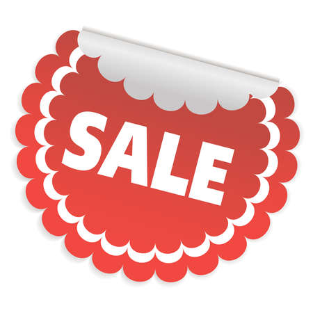 Round red sticker for sale. A sale sign. Vector illustration.