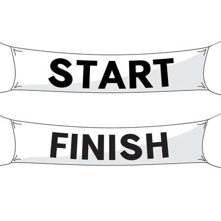 Start and finish lines, white banners. Vector illustration.