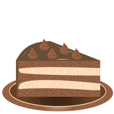 A piece of delicious chocolate cake with cream on a plate. Vector illustration.
