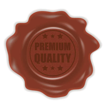 Wax stamp. Rubber seal stamp with a premium quality sign. Stamp brown wax. Wax seal. Vector illustration.