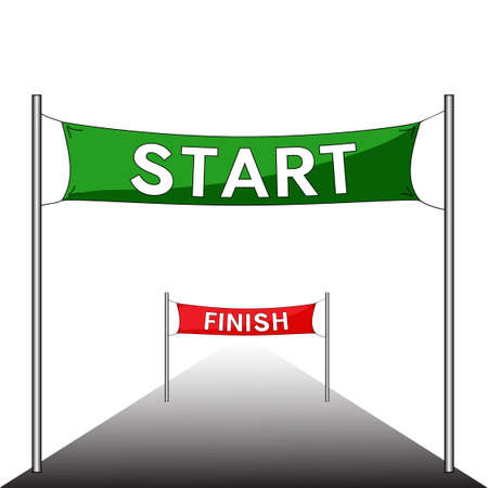 Sport competition with Start and Finish banners. Red and green. Vector illustration.  イラスト・ベクター素材