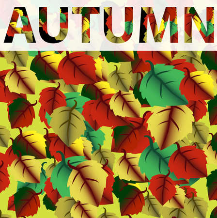 Background with colorful autumn leaves. Fall. Vector illustration.