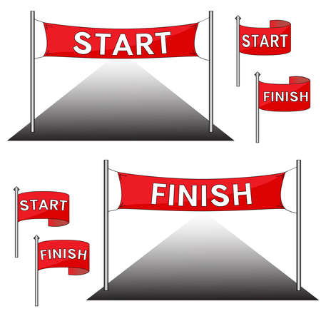 The red start and finish gate, flags. Vector illustration.  イラスト・ベクター素材