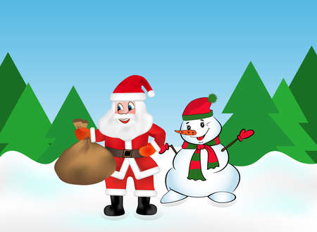 Santa Claus with keeps a bag full of gifts and Snowman in the snow forest on the background of Christmas trees. Vector illustration.