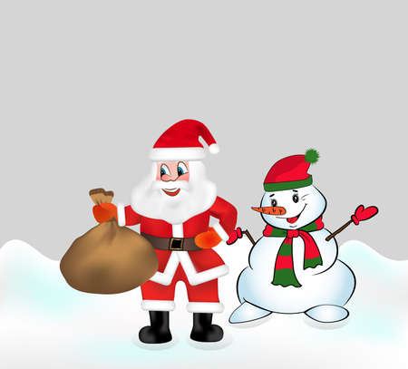 Santa Claus with keeps a bag full of gifts and Snowman. Christmas vector illustration. Ilustração