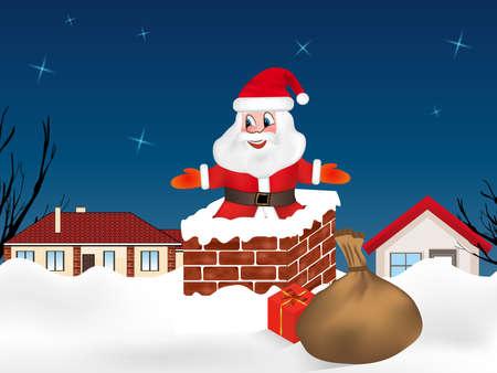 Santa Claus jumping into the chimney and sack full of gifts. Winter night city. Christmas card. Vector illustration. Vektorgrafik