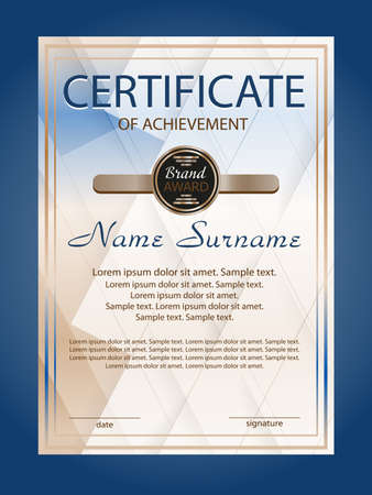 Vertical certificate achievement or diploma template with blue geometric modern background. Vector illustration. Stock Illustratie