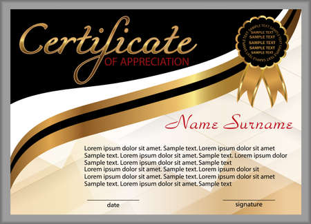 Certificate of appreciation, diploma. Winning the competition. Award winner. Reward. Gold and black decorative elements. Vector illustration.