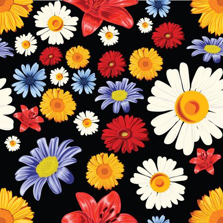 Seamless flower pattern on black background