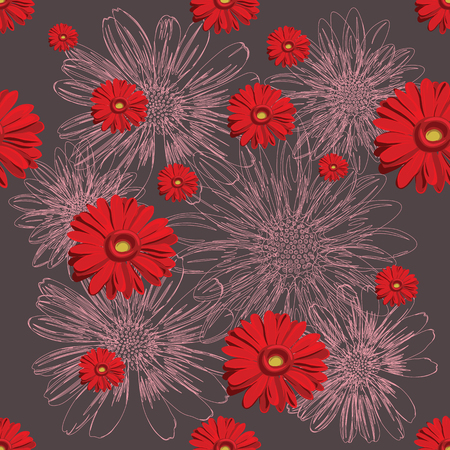 Red floral pattern with lined and colored flowers.