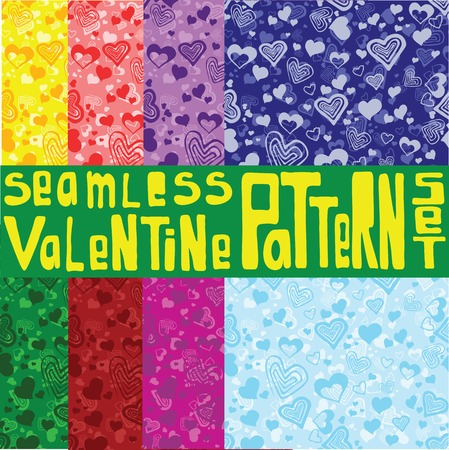 Eight colored patterns with heart ornament.