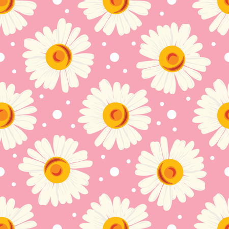Abstract seamless floral pattern on pink background with white dots and one-sized chamomiles