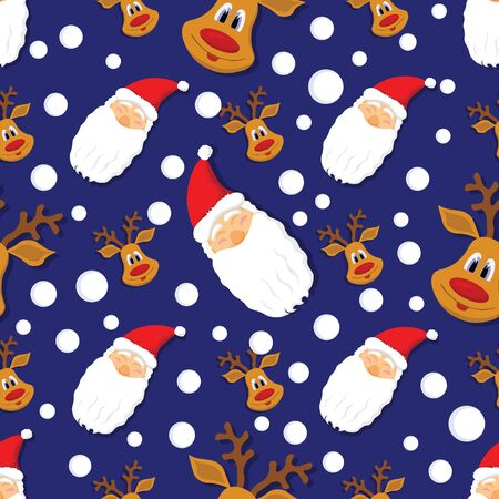 Seamless Christmas pattern with Santa Claus, deer and snowflakes on blue background. Illustration