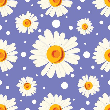 Seamless pattern with white chamomiles and dots on blue background. Abstract floral  pattern.