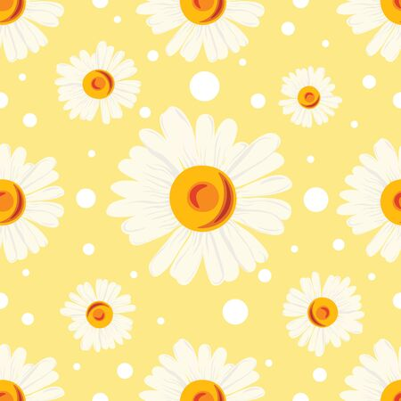 Pattern with white chamomiles and dots on yellow background. Seamless abstract floral pattern. Ilustrace