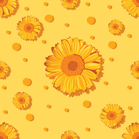 A seamless pattern with sunflowers on orange background