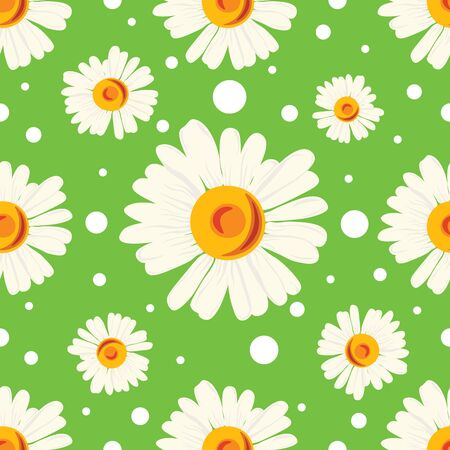 Seamless pattern with white chamomiles and dots on green background. Abstract floral pattern.