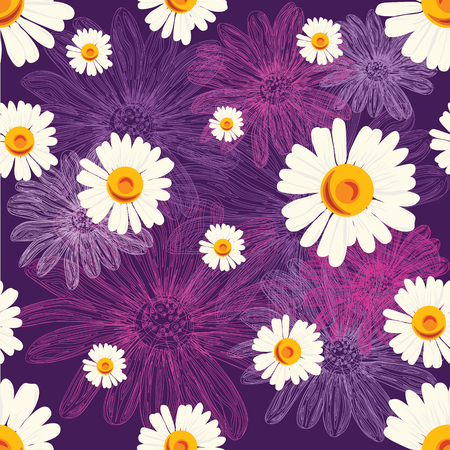 Floral pattern with violet flowers.