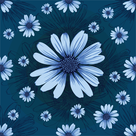 Seamless pattern with blue flowers and lined flowers on black background