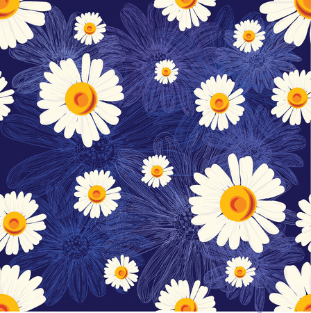 Seamless pattern with chamomiles on blue background with lined flowers