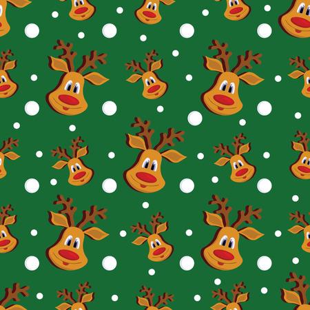 クリスマス鹿と緑図雪片のパターン。
