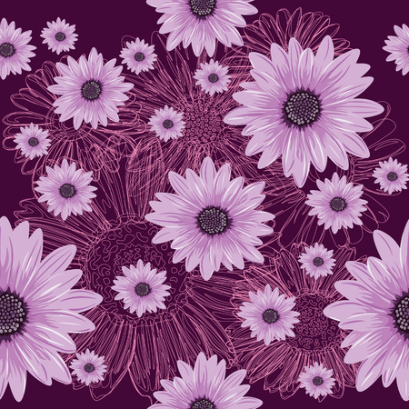 Seamless violet pattern with lined and colored flowers. Abstract flower pattern. Illustration