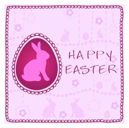 Cute Easter greeting card in light pink colors with rabbits and eggs, flowers Illustration