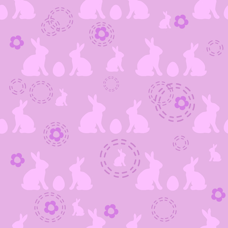 Seamless easter pattern in pink colors with symbolic rabbits and eggs