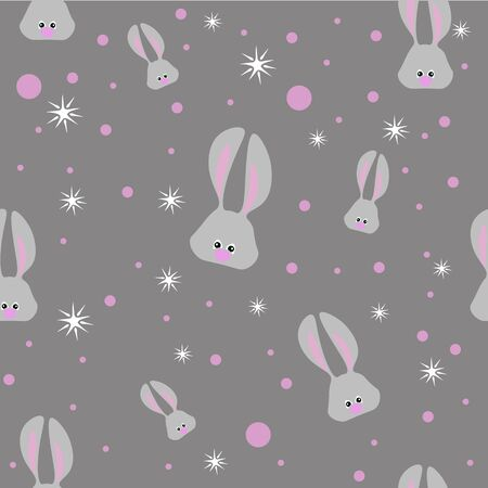 Seamless easter pattern with gray rabbits and stars on dark gray background