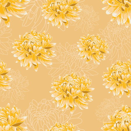 Seamless floral pattern with bright yellow chrysanthemums on creamy background
