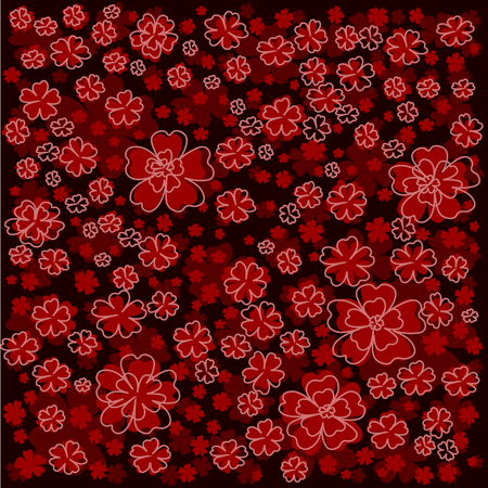 red floral pattern with red lined and colored flowers. Elegant flower pattern on dark red background.