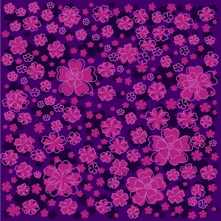 Purple floral pattern with pink lined and colored flowers. Elegant flower pattern on dark violet background.