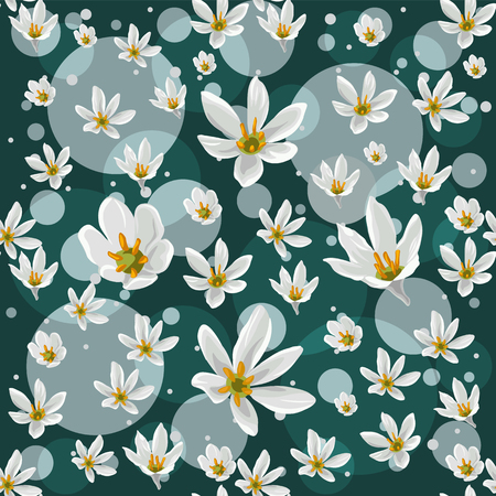 A Seamless pattern with white zephyranthes flowers on turquoise background 矢量图像
