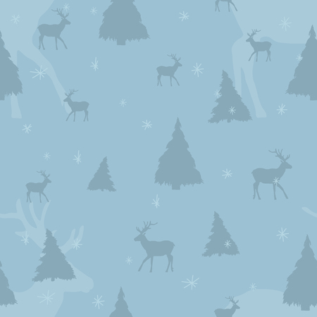 Seamless aquamarine Christmas pattern with deer, snowflakes and trees. Perfect for wrapping paper or textile. Ilustracja