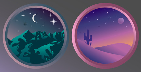 Flat night landscapes with stars and the moon. Mountain view at night. Desert view at night.