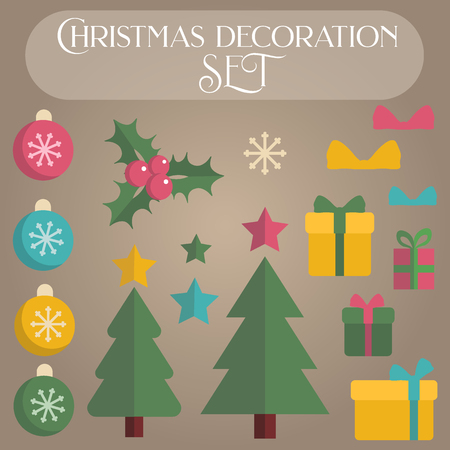 Set of flat christmas decoration elements for creating banners, frames, invitations and greeting holiday cards