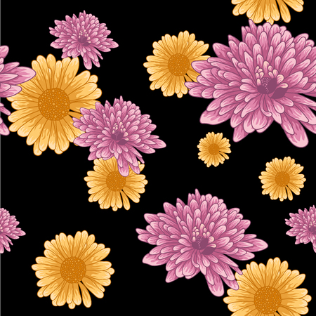 Seamless pattern with pink chrysanthemum and orange daisy flowers on black background.