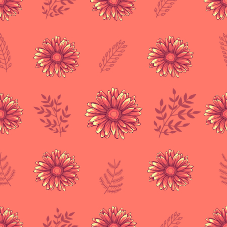 Seamless decorative floral pattern with pink daisy flowers and leaves on light orange background