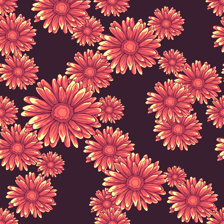 Seamless pattern with pink daisy flowers on dark violet background