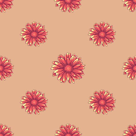Seamless floral pattern with orange daisy flowers on creamy background
