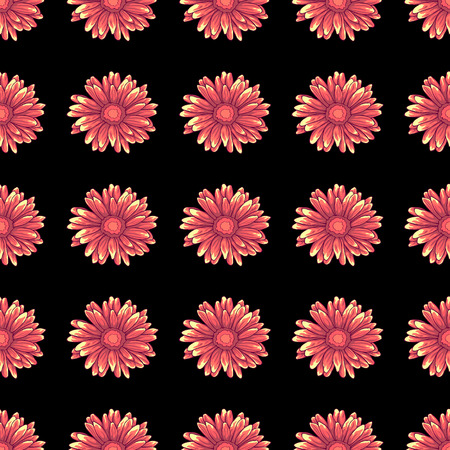 Seamless pattern with pink daisy flowers on dark black background