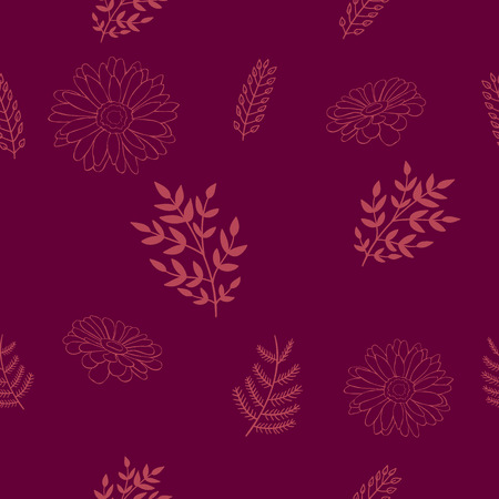 Seamless decorative floral pattern with orange lined brunches and flowers on a dark violet background